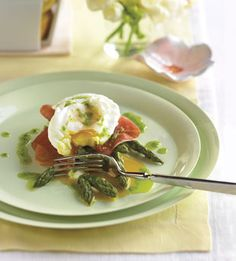 Poached Eggs with Roasted Asparagus, Prosciutto, and Chive Oil (brunch!)