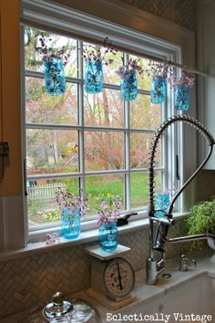 Mason Jar Window Treatment - and New Blue 100 Year Anniversary Mason Jars eclecticallyvintage.com