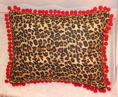 Rockabilly Leopard Throw Pillow with Red Pom Pom Trim by RockabillyRehab on Etsy