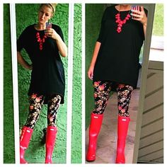 Rain isn't stopping this girl. Out in my Lularoe leggings with this awesome black Irma. Hunter boots and a red necklace to pull this look together. #lularoe #lularoelove #lularoeleggings #lularoeirma#hunterboots