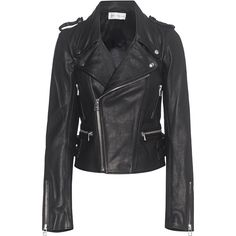FAITH CONNEXION Boxy Leather Jacket Black // Biker leather jacket ($1,435) ❤ liked on Polyvore featuring outerwear, jackets, genuine leather jackets, slim fit leather jacket, zip jacket, sexy leather jacket and buckle leather jacket
