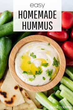Homemade hummus is super simple to make and tastes so much more authentic and fresh than store bought. This hummus dip is one of my favorite appetizers…I could literally snack on it all day! #hummus #homemade #appetizers #appetizerideas #easyappetizers #appetizerrecipes #chickpeas #greek #greekfood #mediterranean #medtierraneanfood #recipes #iheartnaptime