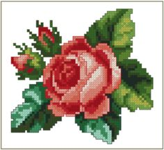 rose for nickie Cross Stitch Rose, Cross Stitch Flowers, Cross Stitch Embroidery, Hand Embroidery, Embroidery Patterns Free, Cross Stitch Patterns, Quilt Blocks, Needlework, Projects To Try