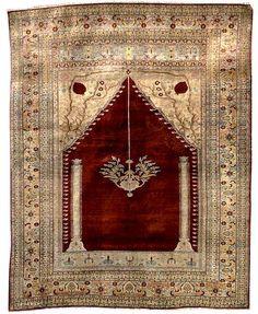 Tabriz Rugs: Antique Silk Tabriz Prayer Rug C. 1890 Lot 71