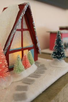 Résultat d'images pour Free Pattern Cardboard Christmas Houses Christmas Village Houses, Putz Houses, Christmas Villages, Christmas Home, Christmas Holidays, Tiny Houses, Retro Christmas Decorations, Halloween Decorations, Holiday Crafts