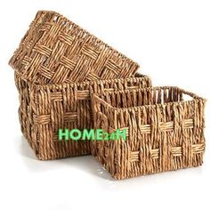 OFFERING: SET OF 3 BASKET; MATERIAL: WATER HYACINTH; COLOR: NATURAL