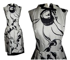 Vintage 50's Black & White Graphic Rose Print SILK Cocktail Dress // 1950's 60's // Slit Skirt // Party Couture Bombshell Dress by TheVintageVaultShop on Etsy