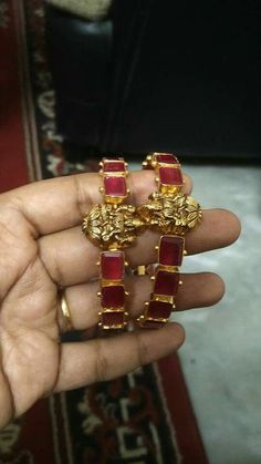 Collection of the best things Ruby Jewelry, India Jewelry, Jewelery, Gold Bangles Design, Jewelry Design, Vanki Designs Jewellery, Designer Bangles, Designer Jewelry, Ruby Bangles