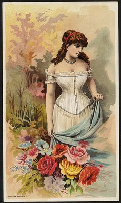 Victorian Corset Advertisement  Created/Published: N. Y. : Donaldson Brothers  Date issued: 1870 - 1900 (approximate)  Physical description: 1 print : chromolithograph ; 16 x 9 cm.  Genre: Advertising cards  Subject: Women; Flowers; Corsets  Notes: Title from item. Retailer: Dole & Johnson, Washburn block, 422 Main St., Brockton, Mass.  Collection: 19th Century American Trade Cards  Location: Boston Public Library, Print Department  Company: F. C. corset