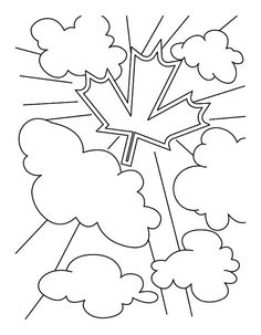 Canada Symbol On The Clouds In National Canada Day Coloring Pages : Kids Play Color Bible Coloring Pages, Online Coloring Pages, Coloring Pages For Kids, Coloring Sheets, National Symbols, Canada Day, To Color, Free Coloring, More Pictures