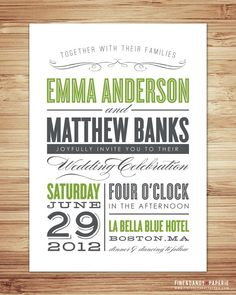 Old Fashioned Wedding Invitation & RSVP by fineanddandypaperie, $30.00