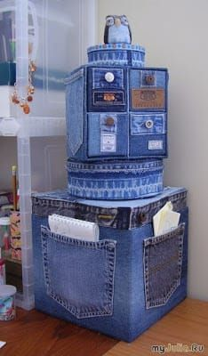 Old Jeans DIY Reuse Ideas - MB Desire DIY and Crafts. Really interesting and original idea, could make a storage solution a bit more personal and eye-catching. Good idea - Jeans or Anything to recover random, cheaper storage boxes/cubes Old Jeans DIY Reus Diy Jeans, Denim Furniture, Furniture Ideas, Jean Diy, Denim Ideas, Denim Crafts, Jean Crafts, Denim Bag, Recycled Crafts