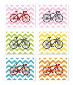 Bike Chevron Nursery Wall Art Print Modern Home Decor