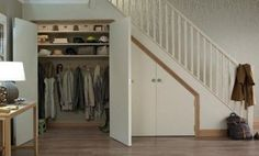 32 Clever Under The Stairs Storage Ideas Understairs Storage Clever Ideas stairs storage Coat Cupboard, Hall Cupboard, Cupboard Storage, Shoe Cupboard, Kitchen Storage, Staircase Storage, Hallway Storage, Staircase Design, Shoe Storage Under Stairs