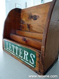 Refresh an old fashioned mail tray with a modern new look using the Resene Whites and Neutrals range. Letter Tray, Letter Holder, Blackboard Paint, Project Steps, Community Activities, Kitchen Benches, Stationery Items, Magazine Holders, Wooden Letters