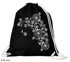 Fahrrad Turnbeutel in schwarz  bei Bär-leena  100% Baumwolle