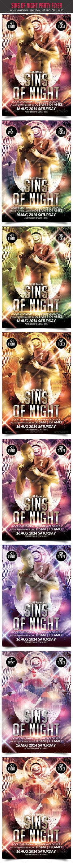 Sins of Night Party Flyer