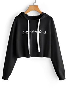 Drawstring Loose Letter Cropped Hoodie - Black M Sweatshirt Outfit, Cropped Hoodie Outfit, Friends Sweatshirt, Crop Top Hoodie, Black Hoodie, Crop Top Outfits, Cute Casual Outfits, Pull Court, Trendy Hoodies