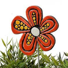 Ceramic flower garden art - dots - gvega