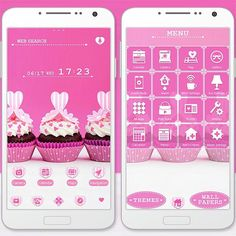 """""""I Scream for Ice Cream!"""" 7/2 '15 Chocolate cupcakes topped with pink hearts make for a most delicious theme! Satisfy your sweet tooth! http://app.android.atm-plushome.com/app.php/app/themeDetail?material_id=1286&rf=pinterest #cute #wallpaper #love #kawaii #girl #beautiful #plushome"""