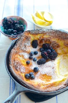 A dutch baby recipe. Also known as a German pancake, and think of it as a cross between a crepe and a popover.
