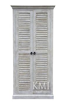 "biała drewniana szafa z żaluzjowymi drzwiami ""Queen White"" Armoire, Tall Cabinet Storage, Furniture, Home Decor, Clothes Stand, Decoration Home, Closet, Room Decor, Reach In Closet"