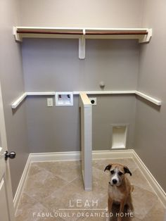 Laundry Countertop support. No clothes hanger rod for us, else clothes will hang there indefinitely. Laundry Room Counter, Laundry Cabinets, Laundry Rooms, Cleaning Supply Storage, Cleaning Supplies, Clothing Storage, Washroom, Washer And Dryer, Washing Clothes