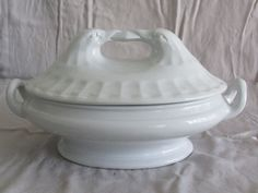 White Ironstone Tureen Unusual w/ Bird Finial Antique English  offered on Ebay for $295