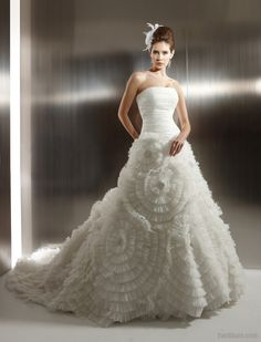 Ball Gown Strapless Catheral Royal Train Organza Wedding Dress with Ruffles  Inspired by Jasmine Couture b42f58813dde