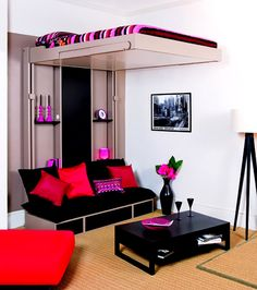Bedroom, Wonderful Modern White Wall Paint Boy And Girl Bedroom Ideas With Enchanting Floating Bed And Stunning Black Sofa On Combined Red Black Cushion Also Nice Black Wooden Coffee Table Plus Beautiful Stand Lamp On Cool Brown Carpet: Fascinating Boy And Girl Bedroom Ideas