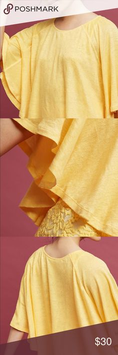 """Anthropologie blouse Anthropologie Lilka """" Lora """" blouse in yellow. Cropped with Tiered bell sleeves & button down back Anthropologie Tops Blouses"""