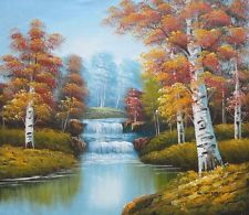 Two Small Waterfalls in Golden Autumn Oil Painting 20 x 24 Inches - Google 搜索