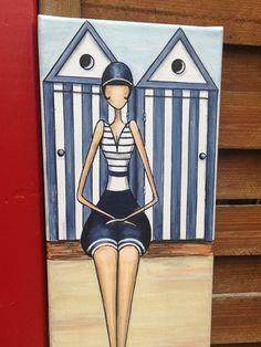 Une baigneuse un peu rétro peinte à la main à l'acrylique   sur une toile coton monté sur châssis de dimensions : 20 cm x 50 cm  Un modèle unique et original, copyright S - 20684832