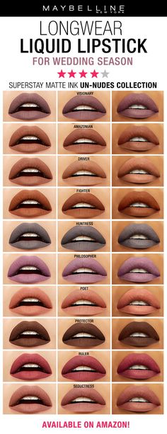 Looking for a long wear lipstick that will last for a wedding? Whether you're the bride, bridesmaid or attendee you need lips that last all day. Maybelline's Super Stay Matte Ink Un-Nudes Liquid Lipstick comes in 10 shades ranging from nudes to purples to Neutral Lipstick, Lipstick Colors, Lip Colors, Maybelline Superstay, Kiss Makeup, Eye Makeup, Hair Makeup, Lipgloss, Liquid Lipstick