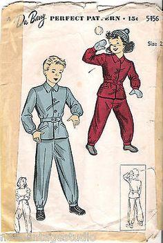 Dubarry Du Barry 5456 ©1942 Vintage Childs'' Snow Suit Pattern Size 2