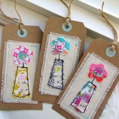 Tag Embellishments Scrapbook Tag Gift Tag Sewn by tracyBdesigns