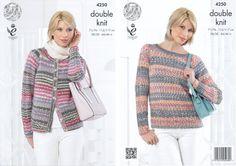 King Cole Ladies Double Knitting Pattern Womens Lace Sleeve Cardigan & Sweater Drifter DK (4250): Amazon.co.uk: Kitchen & Home