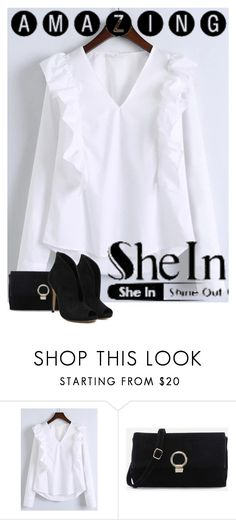 """White V Neck Ruffle Trim Buttoned Cuff Blouse"" by aida-ida ❤ liked on Polyvore featuring WithChic"