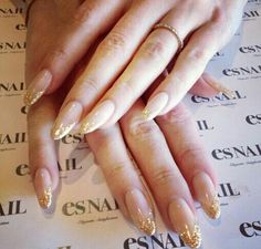 Simple nude nail with gold glitter