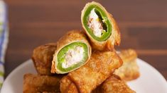 Jalapeño Popper Egg Rolls Are The Appetizer To End All Appetizers is part of Egg roll recipes - Check out this easy recipe for the best Jalapeño Popper Egg Rolls from Delish com! Egg Roll Recipes, Bacon Recipes, Recipes With Egg Roll Wrappers, Eggroll Wrapper Recipes, Easy Egg Roll Recipe, Easy Recipes, Healthy Recipes, Good Food, Yummy Food