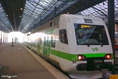 Local train leaving from railway station to Lahti (Lahtis, Finland)