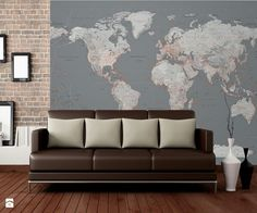 Superb wall mural decals nursery detailed silver grey world world map wallpaper map wall murals wallsauce world map wallpaper mural wallpapers gumiabroncs Images