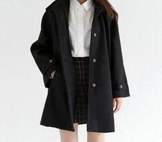 Pinterest: @barbphythian || Korean fashion - white blouse, plaid skirt and black trench coat