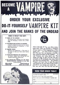 """Don't be a bloody fool... be a bloody vampire!"" Vampires idolized by pop culture. There really is nothing new under the sun."