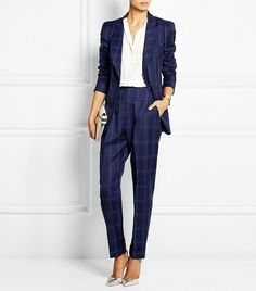 Temperley London Millie Window-Pane Checked Wool Blazer and matching pants