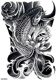 1 pc Fashion Waterproof Temporary Tattoo Full Back Body Art Tattoo Stickers On Back Koi Dragon Tattoo, Dragon Koi Tattoo Design, Pez Koi Tattoo, Japan Tattoo Design, Japanese Koi Fish Tattoo, Koi Fish Drawing, Japanese Dragon Tattoos, Japanese Tattoo Designs, Ship Tattoo Sleeves