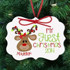Babys First Christmas Ornament Spiral Ornament Personalize However You Like Reindeer Ornaments Holiday Ornaments