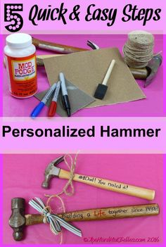Are you stumped as to what to get for your husband, your Dad, or grandpa as a Father's Day gift or any tool loving person? Stick around and we will share how to make a practical personalized gift for the tool loving people in your life! The cool thing about this gift is that you can use (with permission) the wooden handled hammer your husband, Dad or grandpa already has in his toolbox. So go ahead and nail this project to impress the them! TheHardHatBelles.com