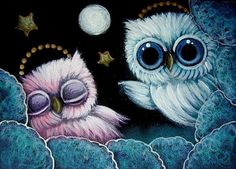 Art: TINY PINK/VIOLET ANGEL OWL SLEEPING IN THE CLOUDS by Artist Cyra R. Cancel