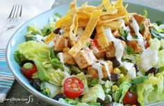 Zesty southwest chicken salad recipe with BBQ sauce and ranch dressing
